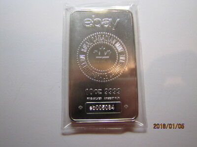 10 oz. Royal Canadian Mint RCM w/eBay Logo .9999 Silver bar Serial #eb005084