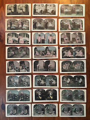 LOT of 24 antique STEREOVIEW CARDS BLACK AMERICANA; Romance; Children & more
