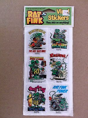 Vintage RAT FINK Big Daddy Roth Vinyl Stickers - Green Set OF 6 by Gordy NEW