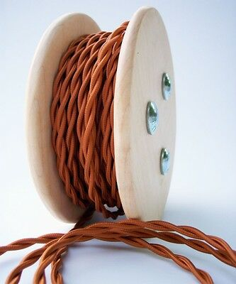 Copper Cloth Covered Twisted Wire 25ft Roll - Lamp Cord - Antique Fan Rewire
