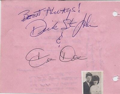 Dick And Deedee - Vintage In Person Genuine Hand Signed Album Page...scarce...
