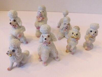 7 Small Vintage Porcelain Spaghetti Poodles Dogs - Puppies Japan