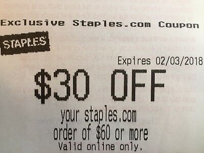 STAPLES $30 OFF $60 Or More Instore Online Or Phone Order EXP 2/3/2018