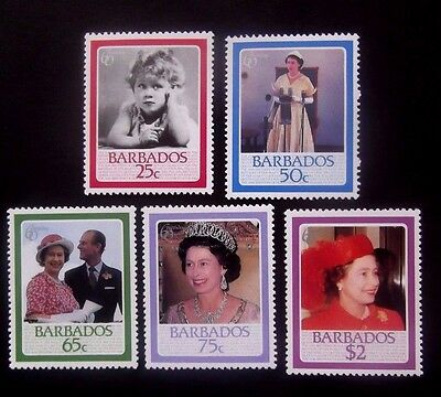Barbados-1986-QEII 60th Birthday set-MNH