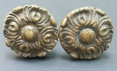 2 Antique Vintage French Provincial Brass Floral Knobs Pulls Handles #Z26