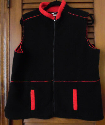 Christopher & Banks Black Vest Trimmed in Red With Two Pockets Size XL