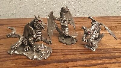 Mythical Pewter Dragons Lot Of 3 Tom Meier Sunglo 1990 & Unmarked
