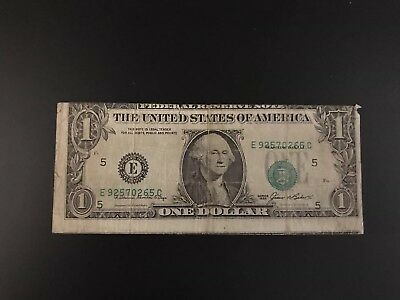 1985 $1 Dollar Federal Reserve Paper Note  Faulty Alignment Error Richmond