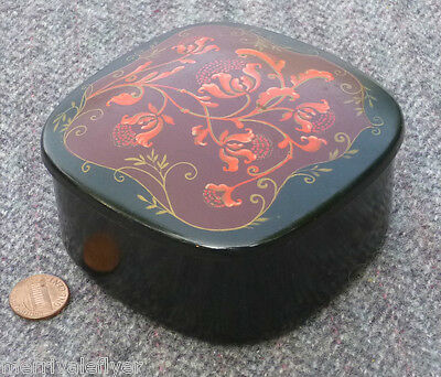 Vintage Japanese Makie Lacquer Covered BOX PINK Thistle RARE CORAL Tea Caddy