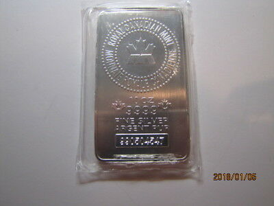 10 oz. Royal Canadian Mint RCM .9999 Silver bar Serial #990504547