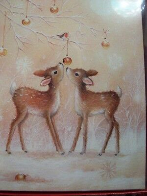 Leanin Tree Christmas Card Set Adorable Pair Of Fawns Deer 12Pk New