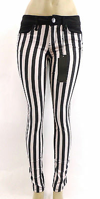 YMI LOVE JEANS Womens Black and White Vertical Stripe Skinny Zip Front Pocket
