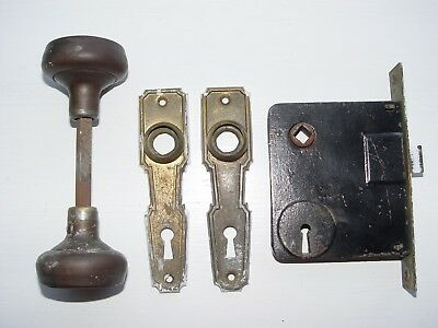 Vintage Antique Metal Door Knobs, Knob Plates, Latch/Lock