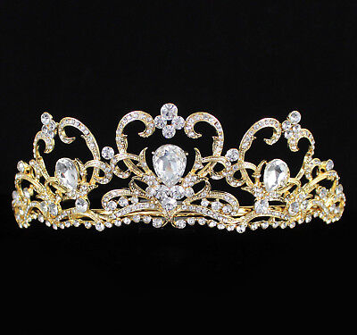 Heart Clear Austrian Rhinestone Crystal Tiara Crown Bridal Pageant Prom T62g