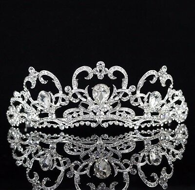 Heart Clear Austrian Rhinestone Crystal Tiara Crown Bridal Pageant Prom T62