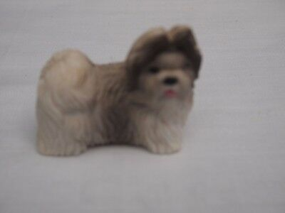 Tiny Shih Tzu Statuette of Silver and White Pup
