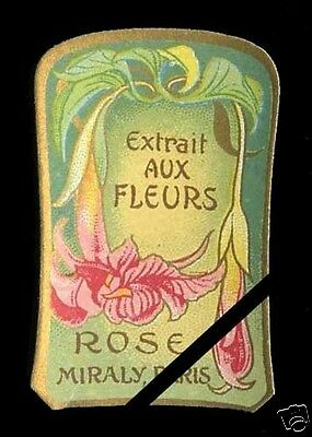 Vintage French Perfume Soap Label: Antique Art Nouveau Rose Miraly Paris France
