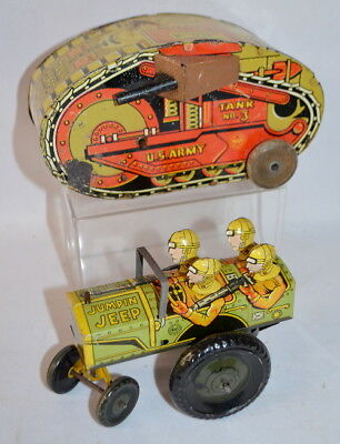 "2 VINTAGE MARX TIN LITHO KEYWIND MILITARY TOYS, ""JUMPIN JEEP"" AND TAN... Lot 142"