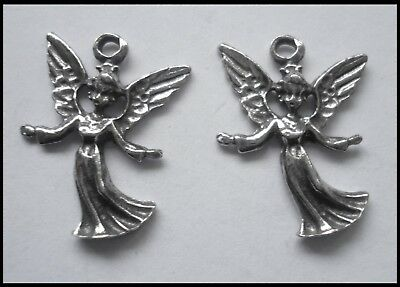 PEWTER CHARM #2353 x 2 LITTLE ANGEL (26mm x 18mm) 1 bail