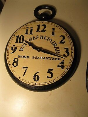 VINTAGE 'WATCHES REPAIRED WORK GUARANTEED' wall clock pocket watch shape