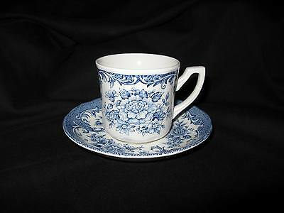 J & G Meakin England Royal Staffordshire Avondale Blue Ironstone Cup & Saucer