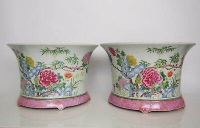 A Pair of Famille-Rose 'Peony' Flowerpot