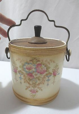 Antique Crown Devon Fieldings Blushware wood lid biscuit cookie jar ca 1912 Don