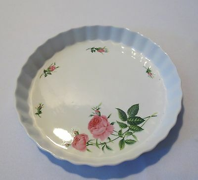 "CHRISTINEHOLM Fluted bakeware Quiche Tart Pie Dish Pan Baking 9.5"" Pink Roses"