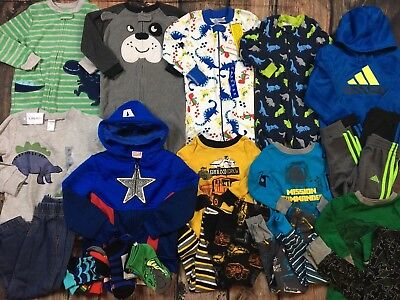 Huge Lot Boys Clothes Fall Winter Outfits Pajamas Pants Shirts Size 3T