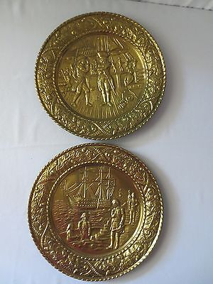 PR Antique Vtg Nautical Ship Sailor Columbus? REPOUSE BRASS WALL PLAQUE Plate