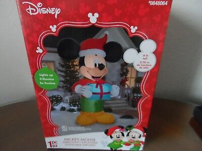 MICKEY MOUSE DISNEY SANTA Lighted AIRBLOWN INFLATABLE--  9 FT. TALL GEMMY-NEW!!