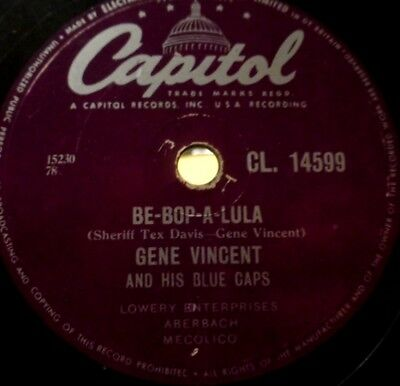 Gene Vincent Rock UK 78rpm Schellack Capitol 14599 BE-BOP-A-LULA Woman Love Vg++
