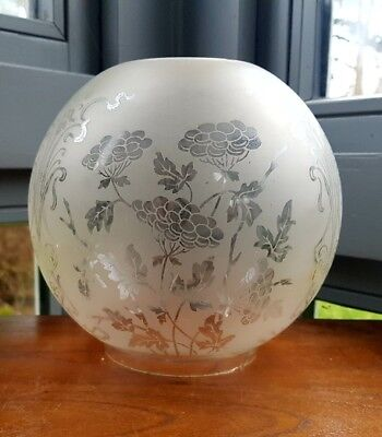 """Original Victorian Glass Oil Lamp Shade Floral Duplex 4"""" Acid Etched - as found"""