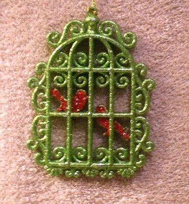Acrylic Green Glitter Bird Cage w/Red Glitter Birds Christmas Ornament- New