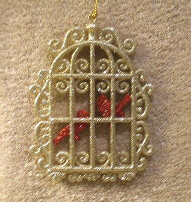 Acrylic Gold Glitter Bird Cage w/Red Glitter Birds Christmas Ornament- New