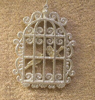Acrylic Silver Glitter Bird Cage w/Gold Glitter Birds Christmas Ornament- New