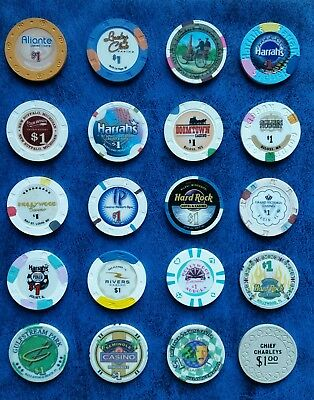 Casino Gaming Chips Lot of 20, NV, MI, MO, MS, IL, & FL- Some Obsolete!