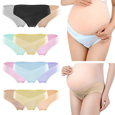Maternity Panties Stretchy Low Waist Underpant Soft Touch Pregnancy Briefs 3PCS