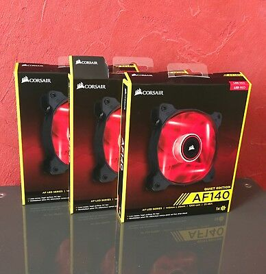 3x Corsair Air Series AF140Q Red Quiet Edition 140 mm