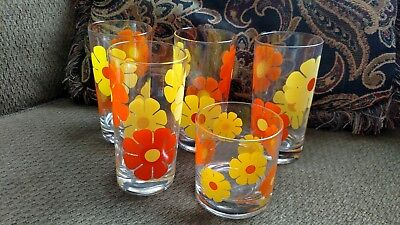 5 VINTAGE COLONY DAISY Orange FLOWER Tumbler GLASSES Mid Century Modern