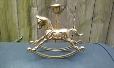 Vintage Solid Brass Rocking Horse Taper Candle Holder