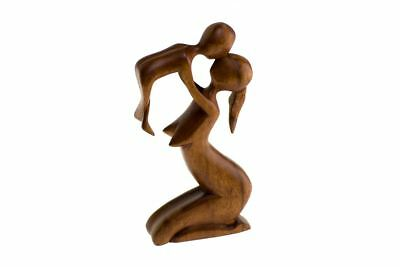 Wooden Hand Carved Sculpture, Mother and Baby, Bountiful Bubs