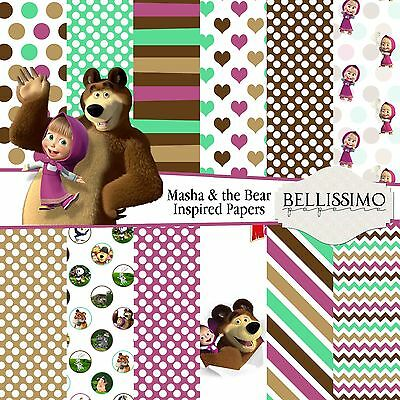 Masha and the Bear Inspired papers, Scrapbook paper, Custom Designed