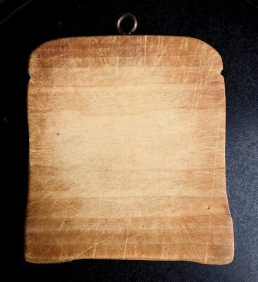 Vintage primitive small solid wood cutting board homemade bread slice shape cute