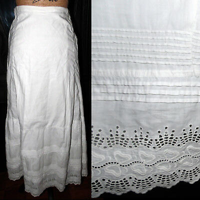 Antique 1800s Victorian Ornate Embroidered Romantic Dress Double Petticoat tlc