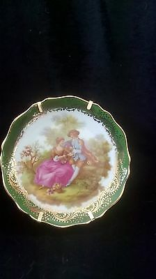 Lovely Vintage 11cm Limoges Castel Plate Depicting Lovers (With Limoges Stand)