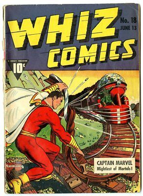 Whiz Comics #18 G/VG 3.0 off-white pages  Captain Marvel  Fawcett  1941  No Resv
