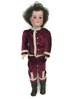 Antique German Porcelain Cuno & Otto Bisque Boy Doll Ball Jointed Body 1912 24""