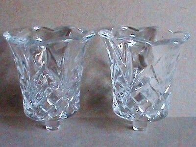 2 - Vintage Homco Clear Crystal Cambridge Candle Holder Cup Peg Inserts - Usa
