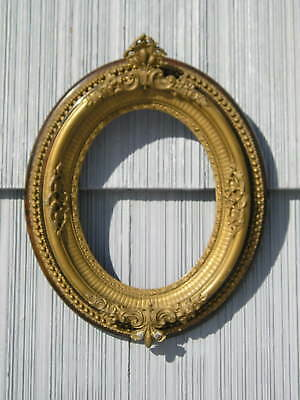 Rare Antique Oval Eastlake Victorian Gold Unique Metal Detail Picture Frame 7~9